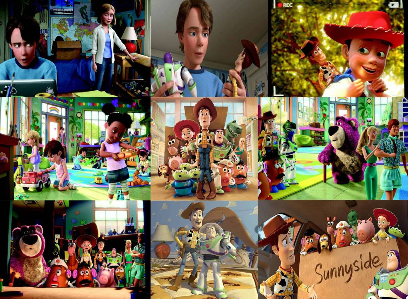 toy story 3 In toy story 3, andy (voiced by john morris) is heading off to college, and his mom (laurie metcalf) asks him to clean out his old stuff woody ( tom hanks ), buzz lightyear ( tim allen ), and the rest of andy's favorite toys have survived yard sale after yard sale, but now the best they can hope for is a one-way ticket to the attic.